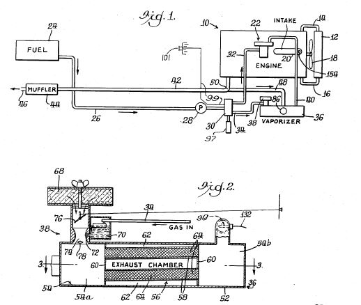 ray covey vaporizer carburetor 4 patents Vapor Fuel System Kit 8 is a semi diagrammatic view of an automatic choke for controlling the flow of vapor to the main carburetor